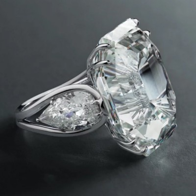 Emerald Cut White Sapphire 925 Sterling Silver Three Stone Engagement Ring
