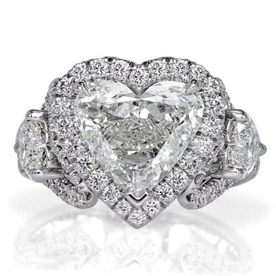 Heart Cut White Sapphire 925 Sterling Silver Three Stone Engagement Ring