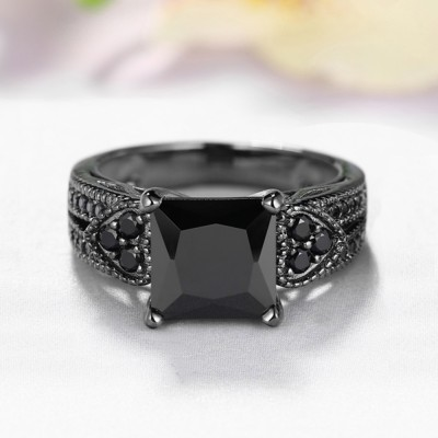Unique Princess Cut Sterling Silver Created Black Diamond Engagement Ring