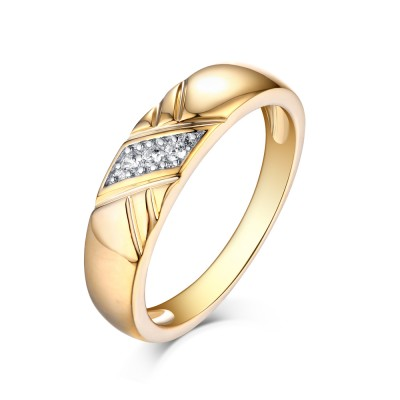 Tinnivi Yellow Gold Round Cut Created White Sapphire Men's Wedding Band