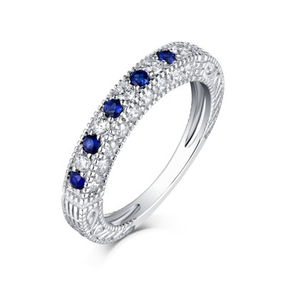 Tinnivi Classic Sterling Silver Created Diamond and Sapphire Wedding Band