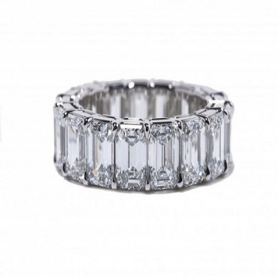 Emerald Cut White Sapphire 925 Sterling Silver Wedding Band