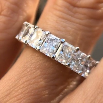 Brilliant Radiant Cut White Sapphire 925 Sterling Silver Wedding Band