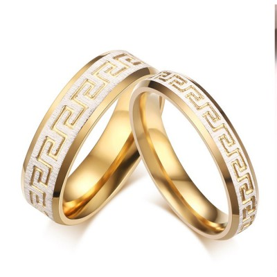 Unique Gold Titanium Steel Couples Ring