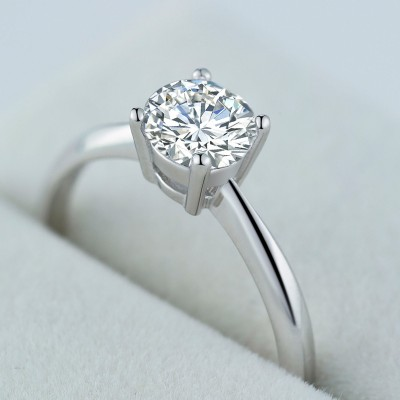 Round Cut White Sapphire 925 Sterling Silver Simple Adjustable Engagement Ring