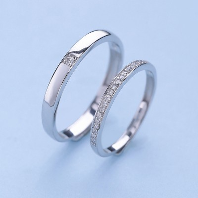 Round Cut White Sapphire 925 Sterling Silver Simple Adjustable Promise Ring For Couple