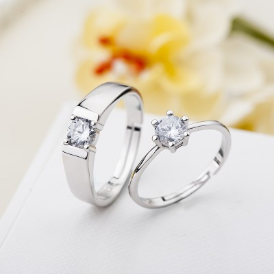 Luxury Round Cut 925 Silver White Sapphire Adjustable Couples Rings
