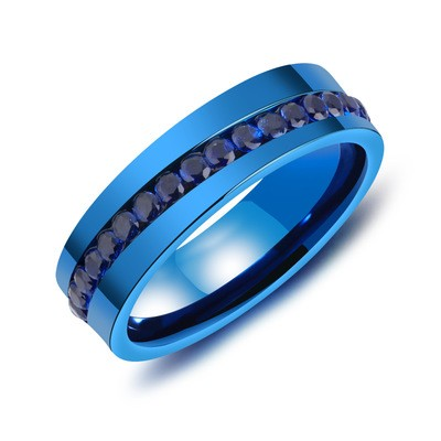 Tinnivi Blue Titanium Steel Created Black Diamond Mens Band