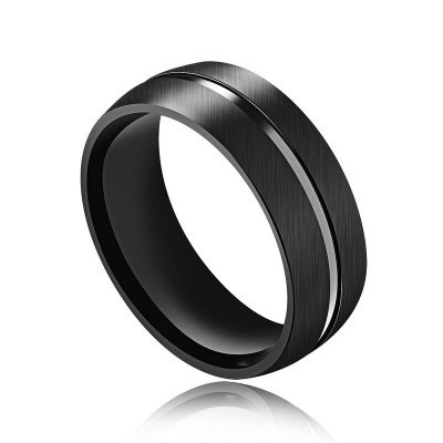 Tinnivi Fashion Silver Line Black Titanium Steel Mens Band