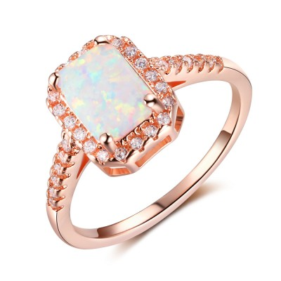 Tinnivi Rose Gold Plated Sterling Silver Emerald Cut Opal With Created White Sapphire Womens Ring