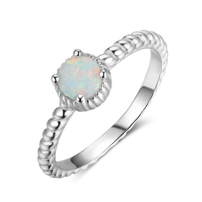 Tinnivi Classic Woven Stylish Sterling Round Cut Opal Womens Ring