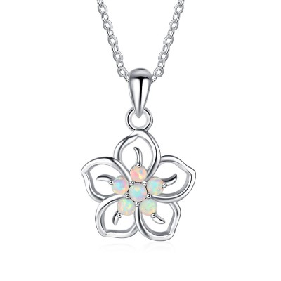 Tinnivi Opal Hollow Out Flower Sterling Silver Pendant Necklace