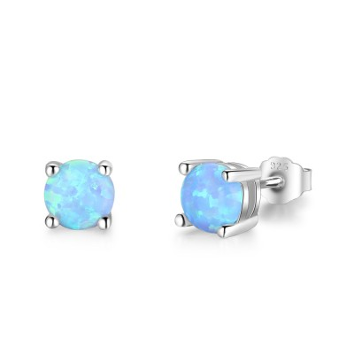 Tinnivi Classic Round Cut Blue Opal Sterling Silver Stud Earrings