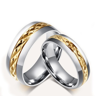Tinnivi Thin Gold Line Silver Color Titanium Steel Rings For Couples