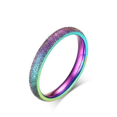 Tinnivi Rainbow Color Dull Polish Titanium Steel Women's Band