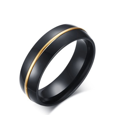 Tinnivi Thin Gold Line Black Titanium Steel Cool Mens Band