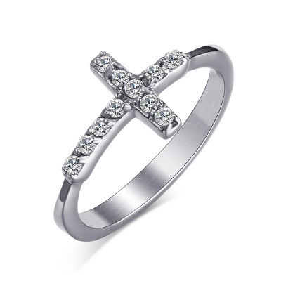 Tinnivi Created Round Cut White Sapphire Titanium Steel Sideway Cross Womens Ring