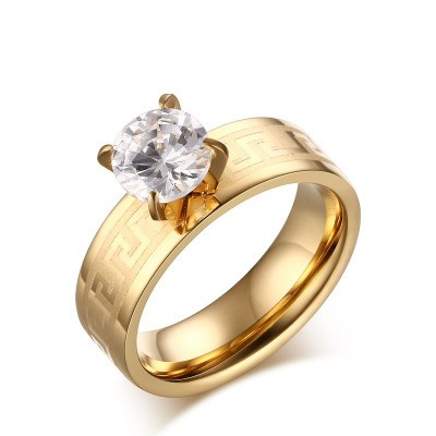 Tinnivi Round Cut Created White Sapphire Gold Plated Great Wall Pattern Titanium Steel Engagement Ring