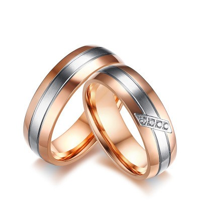 Tinnivi Elegant Silver And Rose Gold Titanium Steel With Created White Sapphire Rings For Couples