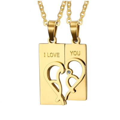 Tinnivi Gold Plated Titanium Steel Created White Sapphire Heart Jigsaw Necklace For Couples