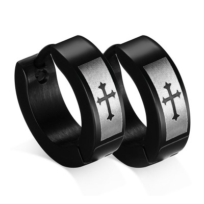 Tinnivi Titanium Steel Round Hoop Cross Mens Ear Stud Earrings