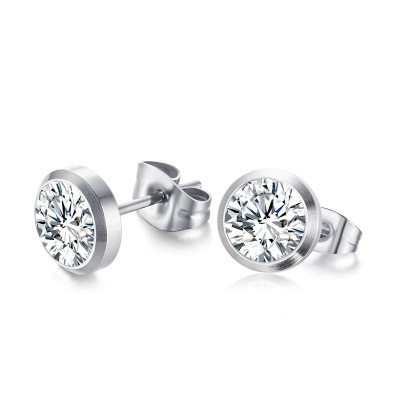 Tinnivi Round Cut Created White Sapphire Titanium Steel Womens Ear Stud Earrings