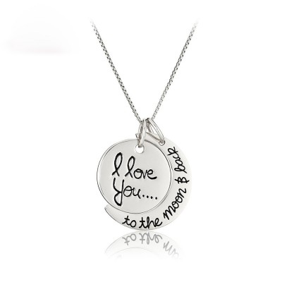 Tinnivi Titanium I love you to the moon and Back Pendant Necklace