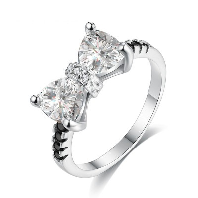 Tinnivi Bowknot Design Created White Sapphire Sterling Silver Engagement Ring