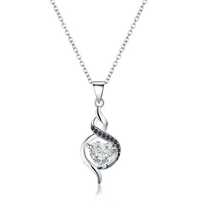 Tinnivi Stylish Sterling Silver Heart Cut Created White Sapphire Pendant Necklace