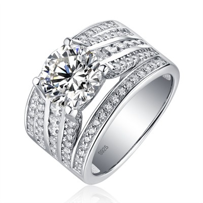 Tinnivi Fashion Wide Sterling Silver Round Cut Created White Sapphire Engagement Ring