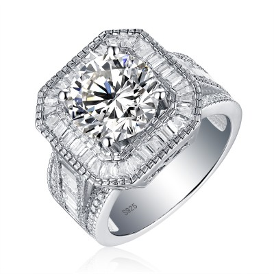 Tinnivi Gorgeous Halo Sterling Silver Round Cut Created White Sapphire Engagement Ring