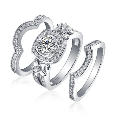 Tinnivi Stylish Flower Halo Round Cut Created White Sapphire Wedding Set