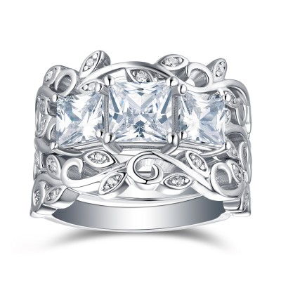 Tinnivi Three Stone Vine Design Princess Cut Created White Sapphire Sterling Silver Wedding Set