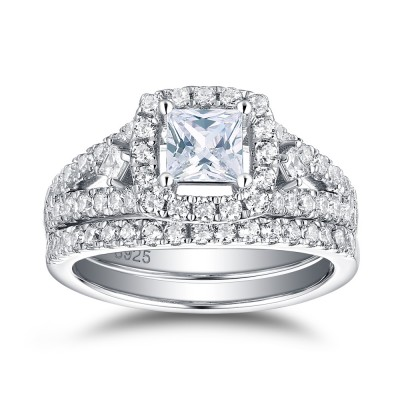 Tinnivi Halo Cushion Cut Created White Sapphire Sterling Silver Wedding Set