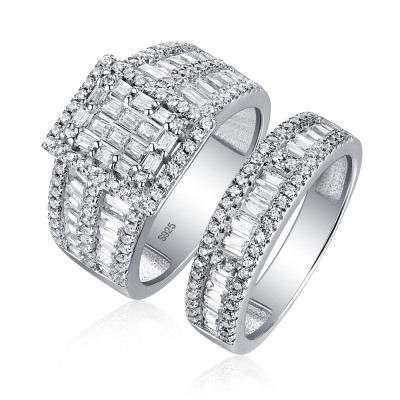 Tinnivi Fashion Wide Halo Princess Cut Created White Sapphire Wedding Set