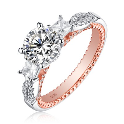 Tinnivi Elegant 3 Stone Round Cut Created White Sapphire Sterling Silver Engagement Ring
