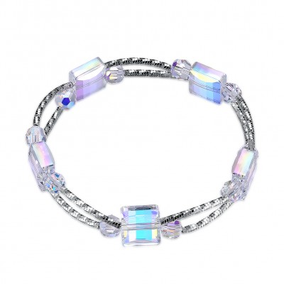 Tinnivi Double Layer Cube Austrian Crystal Sterling Silver Bracelet