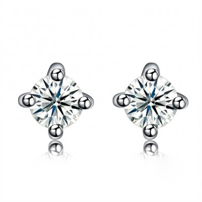 Tinnivi Four Prong Round Cut Created White Sapphire Sterling Silver Stud Earrings