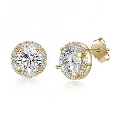Tinnivi Gold Plated Created White Sapphire Sterling Silver Stud Earrings