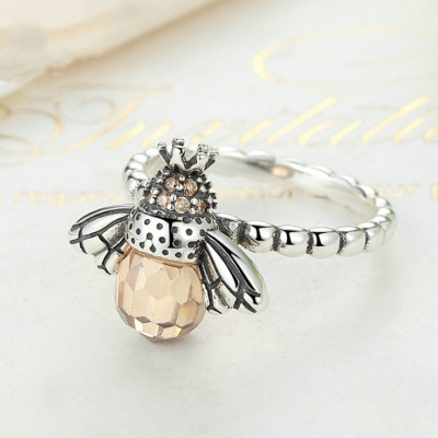 Unique Bee Design Orange Sapphire 925 Sterling Silver Promise Ring For Her