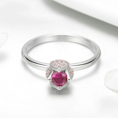 Round Cut Rose Flower Pink Sapphire 925 Sterling Silver Promise Ring For Her