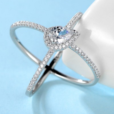 Pear Cut Unique White Sapphire 925 Sterling Silver Promise Ring For Her