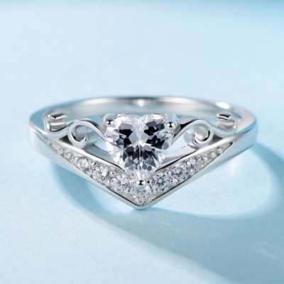 Heart Cut White Sapphire 925 Sterling Silver Promise Ring For Her