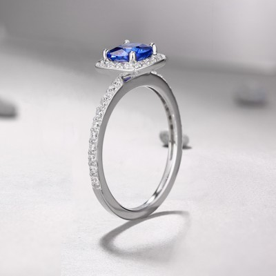 Tinnivi Sterling Silver Cushion Cut Created Sapphire Halo Engagement Ring