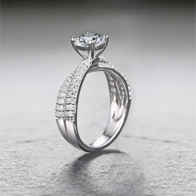 Tinnivi Sterling Silver Round Cut Created White Sapphire Engagement Ring