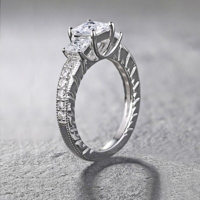 Tinnivi Sterling Silver Princess Cut Created White Sapphire Three Stone Engagement Ring