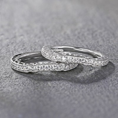Tinnivi Contour Stackable Sterling Silver Women's Wedding Band