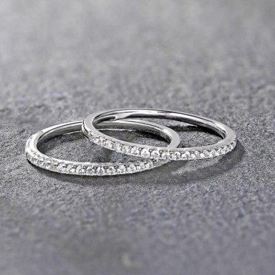 Tinnivi Pave Created White Sapphire Stackable  Sterling Silver Wedding Band