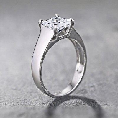 Tinnivi Sterling Silver Cushion Cut Created Sapphire Engagement Ring