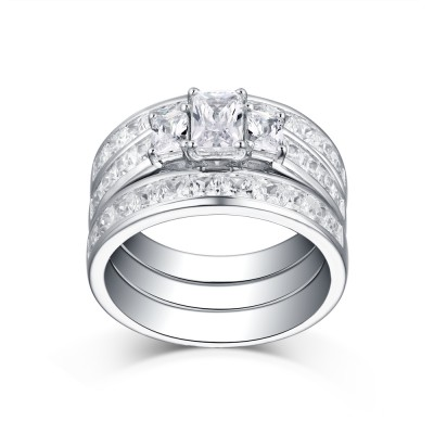 Tinnivi Sterling Silver Classic Princess Cut Created White Sapphire 3 Stone 3 Piece Wedding Ring Set